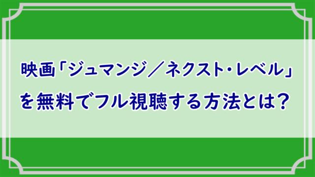 ジュマンジ/ネクスト・レベル